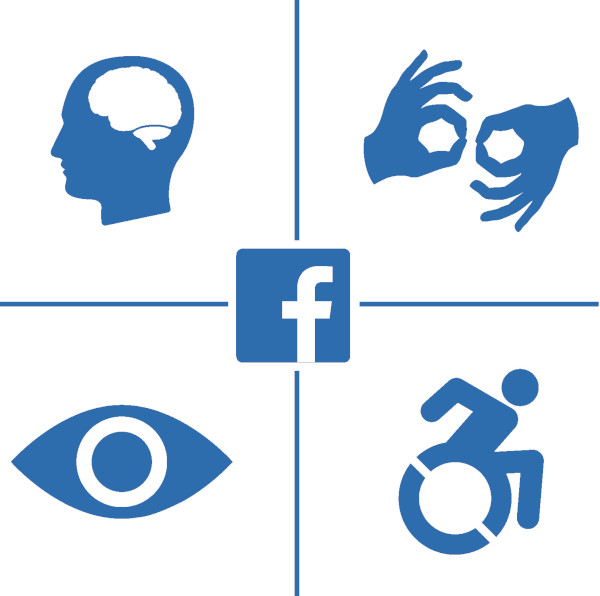 Facebook logo surrounded by accessibility symbols